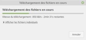 Téléchargement des fichiers en cours