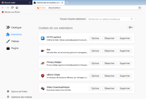 Nouvelle présentation du gestionnaire de modules dans Firefox 64
