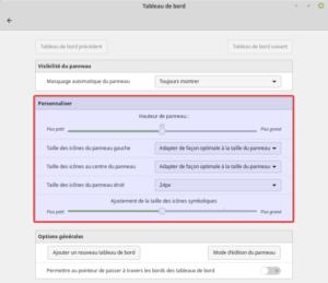 Fenêtre d'options des tableaux de bord dans Linux Mint 19.1