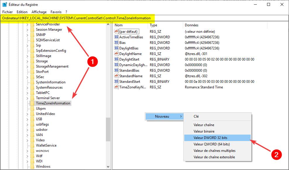 Correction dans Windows de la différence heure entre Windows et Linux