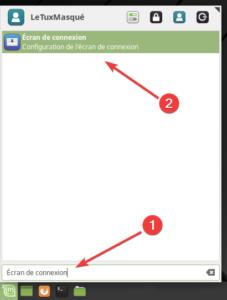 Accès Fenêtre de connexion dans menu XFCE
