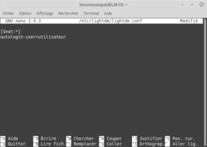 fichier lightdm .conf avec auto-login activé
