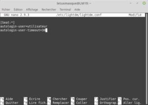fichier lightdm .conf avec auto-login activé avec un delai