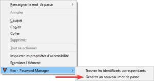 Générer mot de passe avec KeePass depuis menu contextuel de Firefox