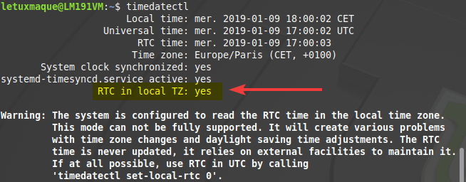 Système Linux en heure locale