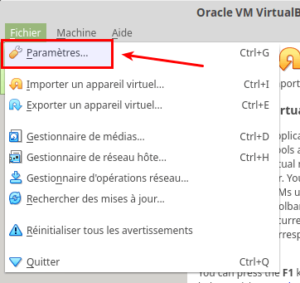 Accès Paramètres dans VirtualBox 6.0