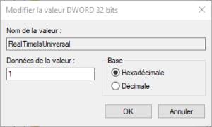 Différence heure entre Windows et Linux : Passer Windows en UTC