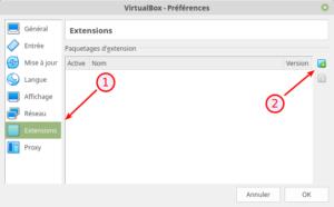 VirtualBox 6.0 - Préférences - Extensions