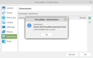 VirtualBox - préférences - fin installation pack entension