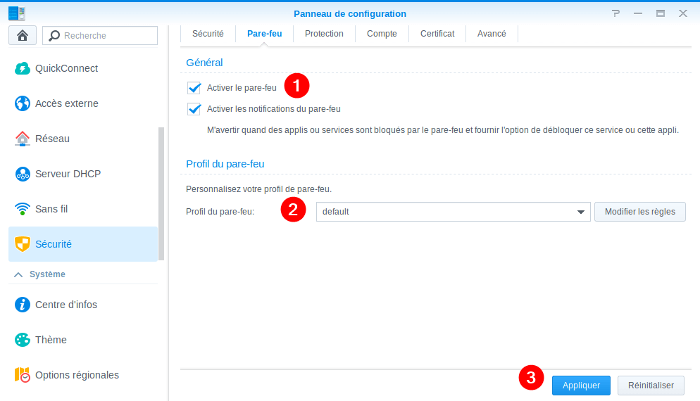 Activer le Firewall Synology