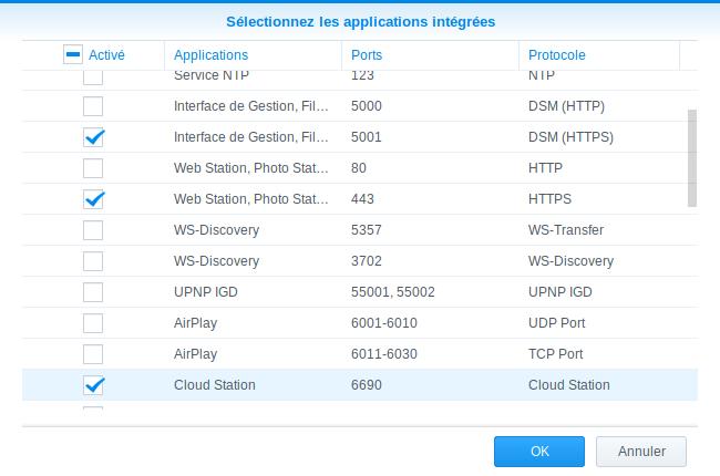 Sélection applications