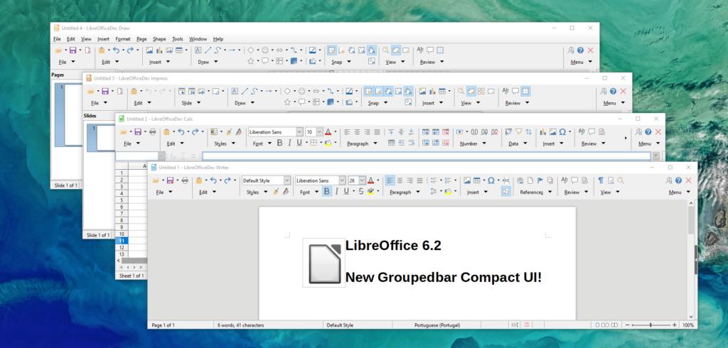LibreOffice 6.2 - Méta-barre Barre groupée compacte