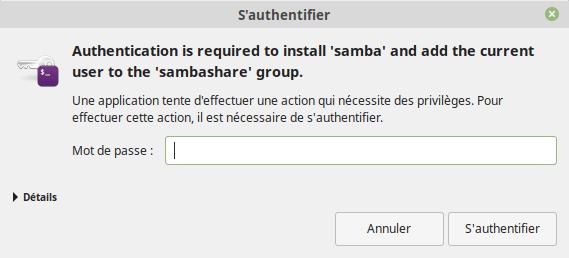 Authentification pour l'installation de Samba