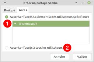 paramètres accés partage réseau dans Linux Mint MATE ou XFCE