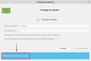 Fin installation paquet samba - reboot