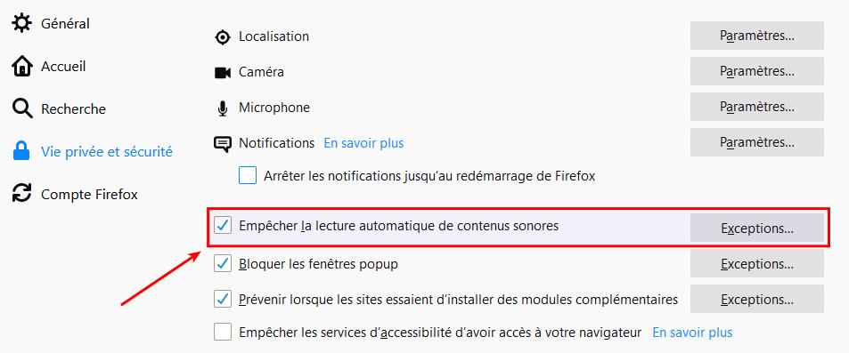Option pour désactiver la lecture automatique d'éléments sonores dans Firefox