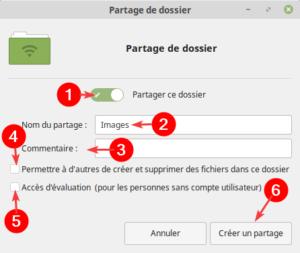 Partage réseau dans Linux Mint - Options de partage d'un dossier