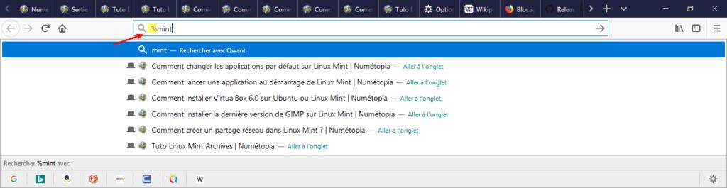 Recherche d'onglets dans Firefox