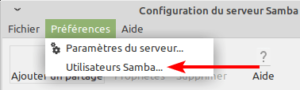 system-config-samba - acces gestion utilisateurs