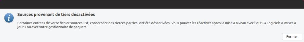 Mise à niveau vers Ubuntu 19.04 - Dépôts tierces désactivés