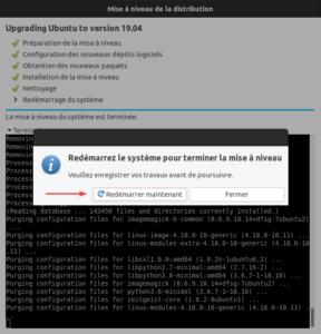 Mise à niveau vers Ubuntu 19.04 - Redémarrage fin