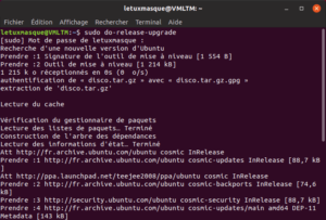 Début mise à niveau vers Ubuntu 19.04 en ligne de commande