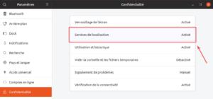 Options confidentialité dans Ubuntu 19.04