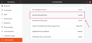 Options confidentialité dans Ubuntu 19.04