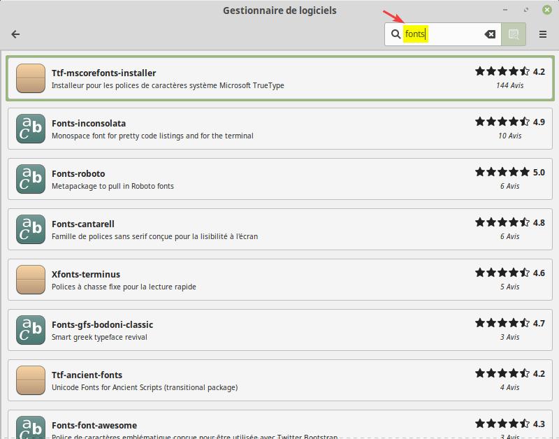 Recherche police de caractères dans le gestionnaire de logiciels de Linux Mint
