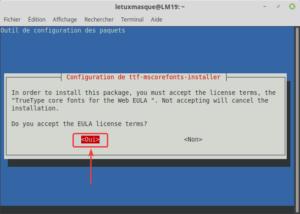 ttf-mscorefonts-installer accepter licence EULA