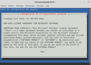 Installation ttf-mscorefonts-installer information EULA