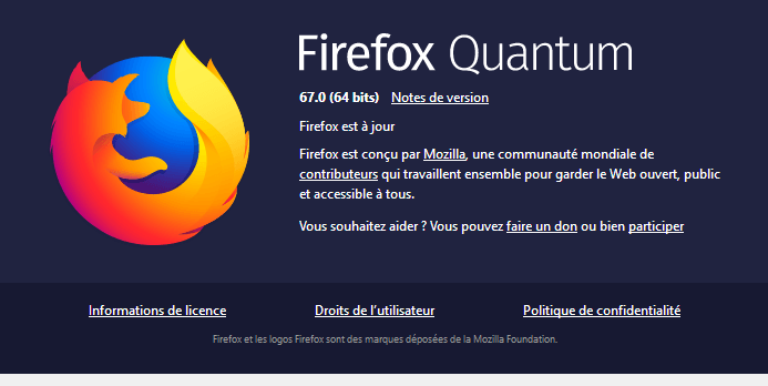 A propos Firefox 67