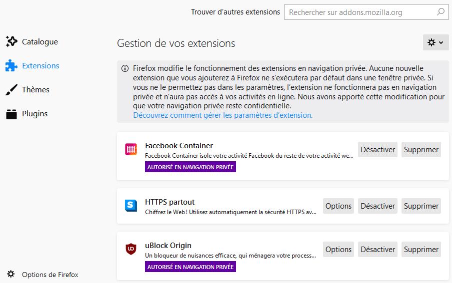 Accès aux préférences de blocage de contenu via info page