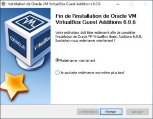 Fin installation additions invité virtualbox