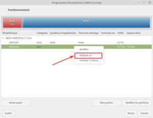 Installation LMDE - partitionnement - attribuer à /
