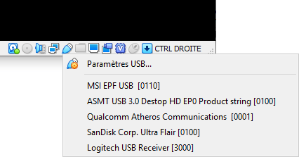 Monter un périphérique USB dans VirtualBox