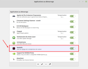 Redshift au démarrage de Linux Mint