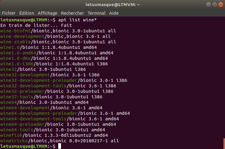Paquets Wine dans Ubuntu 18.04