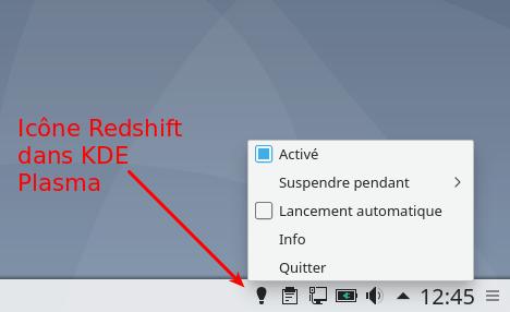 Redshift dans KDE Plasma