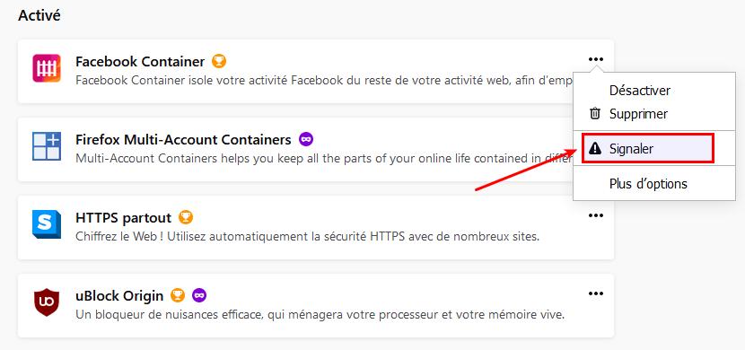 Signaler une extension frauduleuses dans Firefox 68