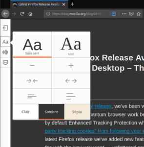 Thème sombre mode lecture Firefox 67