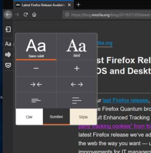 Thème sombre mode lecture Firefox 68