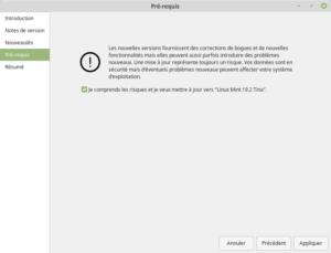 Pré-requis pour mettre à niveau vers Linux Mint 19.2