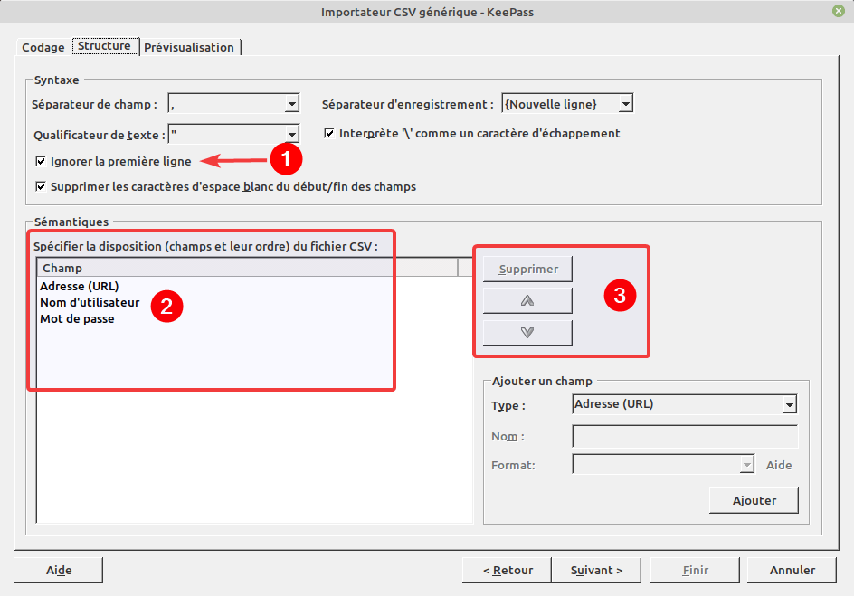 Import CSV - Onglet Structure