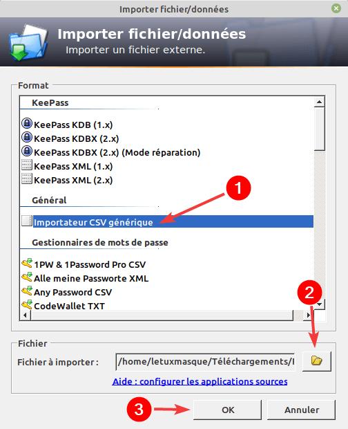 Import fichier CSV dans KeePass