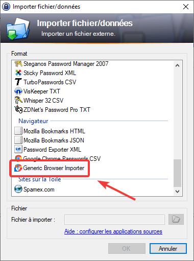Importer les mots de passe de Firefox dans Keepass avec Generic Browser Importer