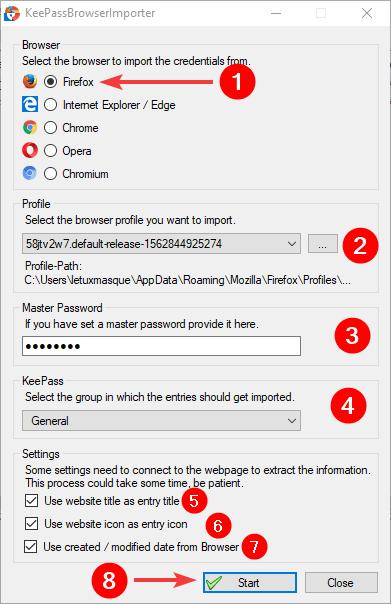 Importer les mots de passe de Firefox dans Keepass avec Generic Browser Importer - Fenêtre d'import
