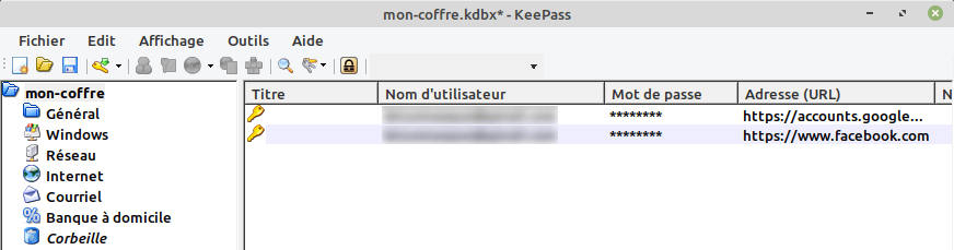Mots de passe de Firefox importés dans keepass avec FF Password Exporter