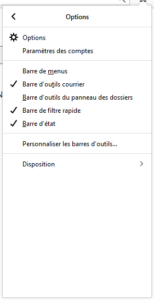 sous menu d'application