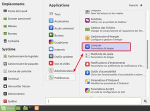 Langues par le menu dans Linux Mint Mate